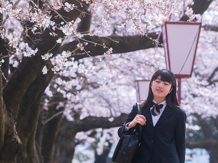 桜の道を歩く思春期の女の子