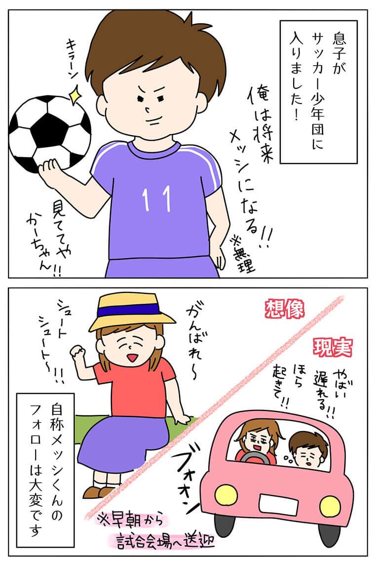 サッカーを習わせる理想と現実の4コマ漫画