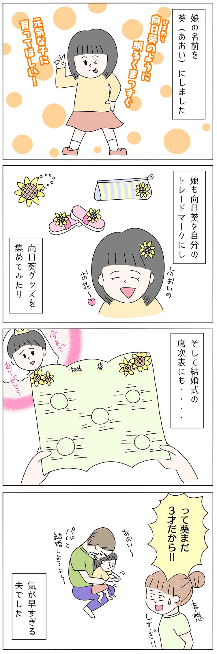 葵を名前につけた子育て4コマ漫画
