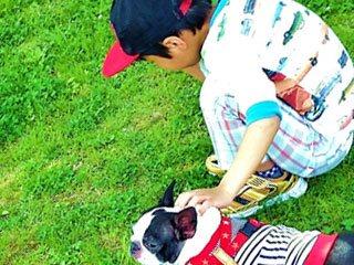 犬と一緒に外で遊ぶ子供