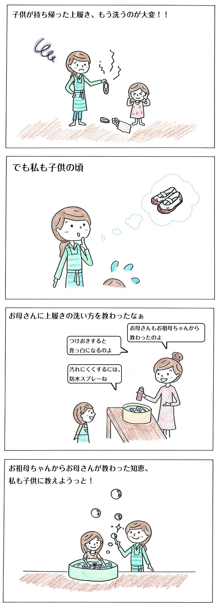 上履きの洗い方の子育て4コマ漫画