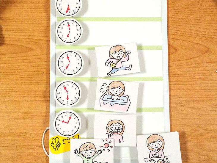 完成した時計が読めない子供用の時間管理ボード