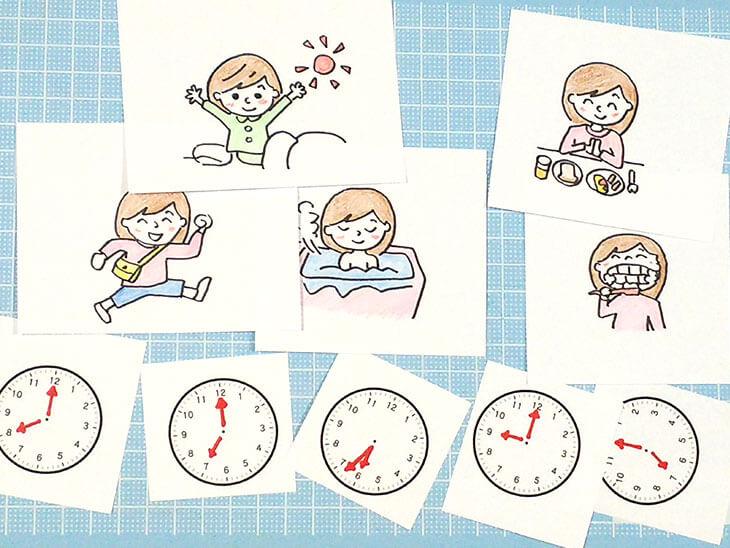 マグネットに貼り付ける子供の生活と時計のイラスト