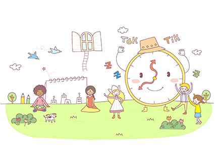 子供と時計が遊ぶイラスト