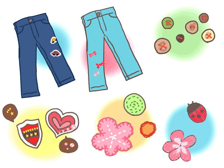 小さいモチーフを使ったズボンの補修アイデアのイラスト