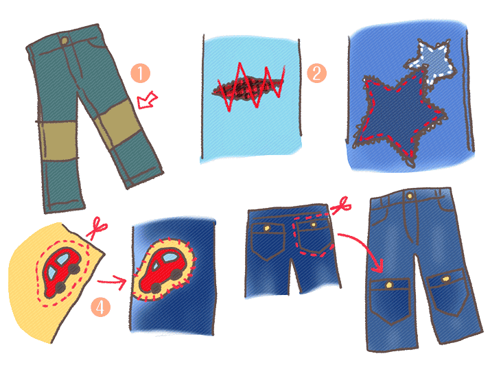 その他のズボンの補修アイデアの図解