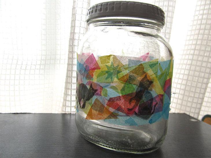 ペパナプでリメイクしたステンドグラス風の空き瓶