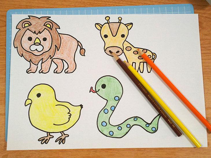 絵合わせカードに貼る生き物のイラスト
