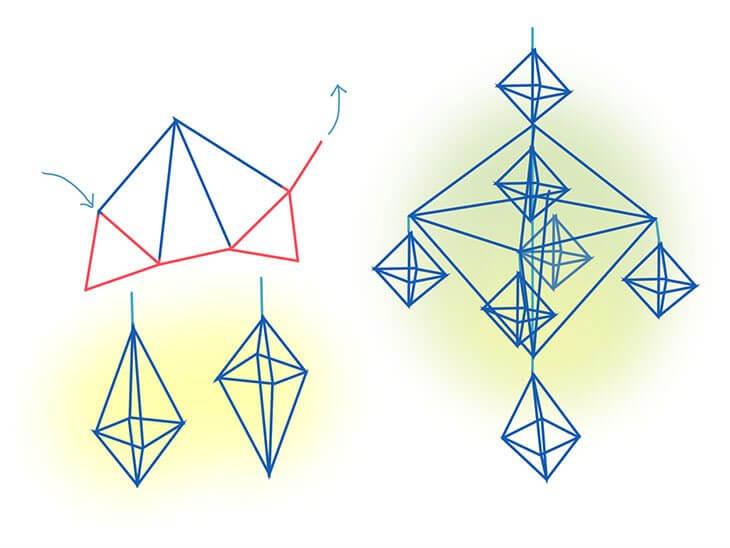 正八面体のヒンメリのアレンジ例