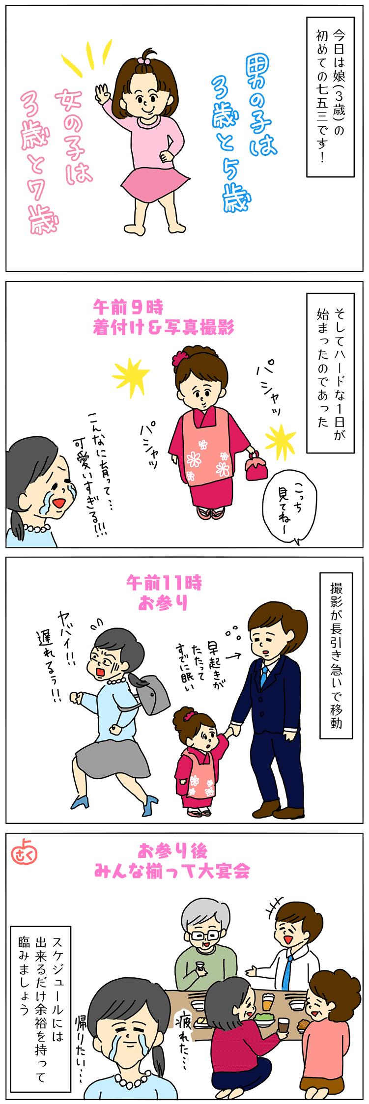 七五三のお参りの4コマ漫画