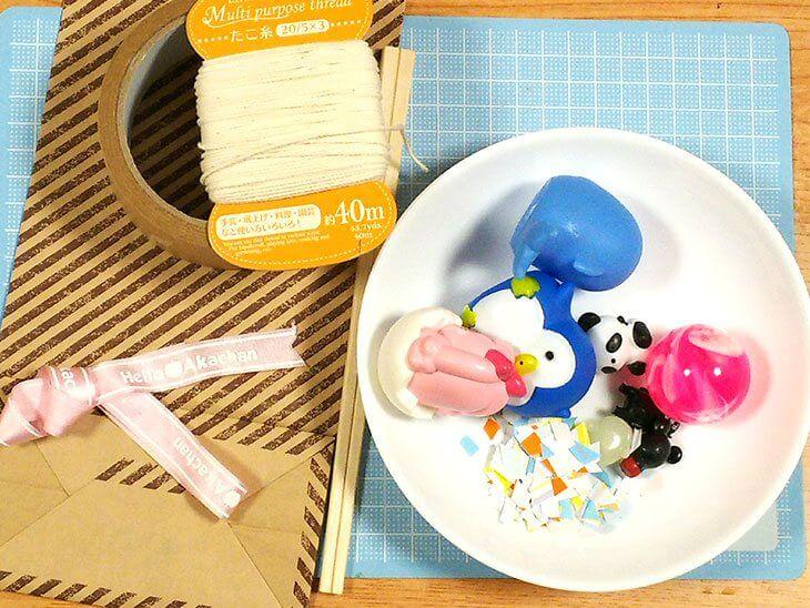 ピニャータ風紙袋のくす玉の材料