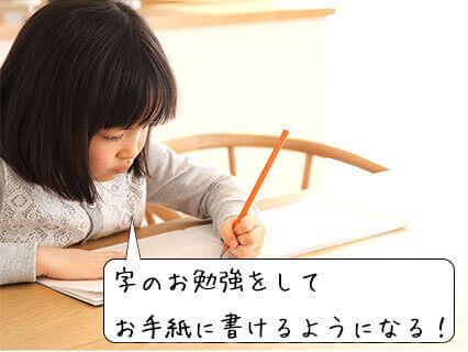 テーブルで手紙を書く女の子