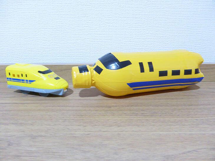 ペットボトルで工作した幼児用の新幹線ガラガラの完成品