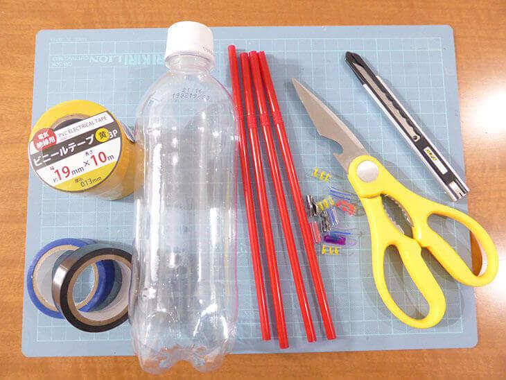 ペットボトル工作の幼児向け新幹線ガラガラの材料