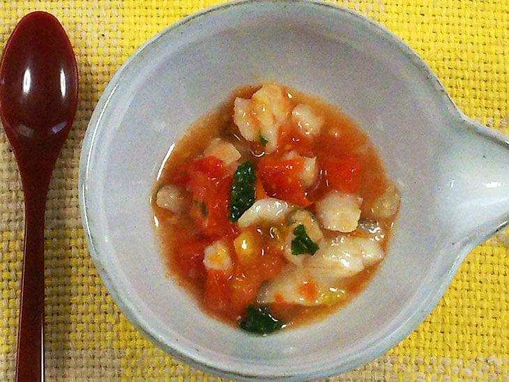 離乳食レシピ「白身魚のアクアパッツァ風」の完成品