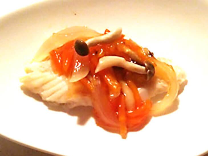 離乳食レシピ「白身魚のあんかけ」の完成品