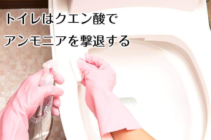 クエン酸でトイレ掃除をする女性の手