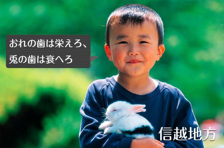 ウサギを抱っこする男の子