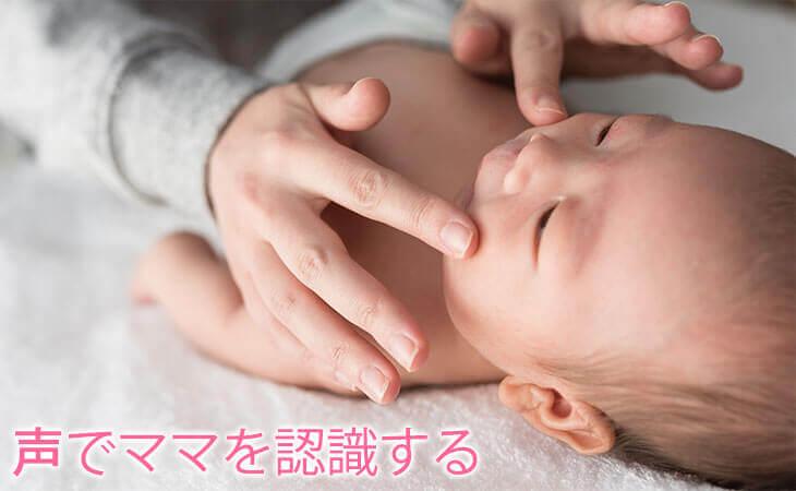 赤ちゃんの顔を触るママの手