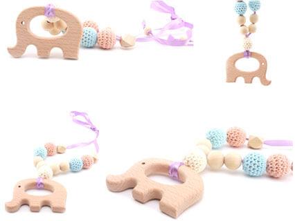 歯固め ネックレス シリコンビーズ 木製象