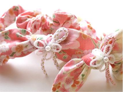 はんなり桜☆組紐リボンとお花ビーズのリボンヘアバンド