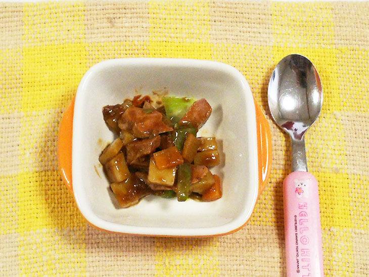 離乳食レシピ「レバーの甘酢炒め」の完成品