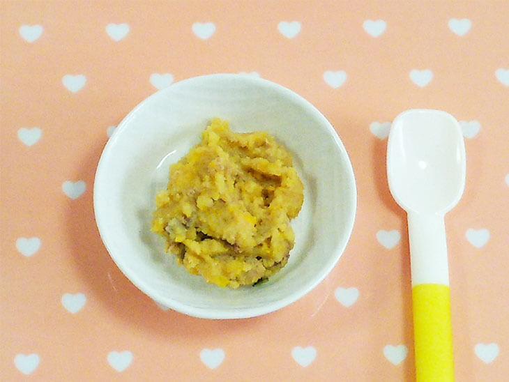 離乳食レシピ「レバーのかぼちゃあえ」の完成品