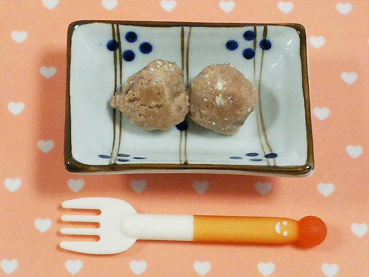 離乳食レシピ「レバーのふわふわ団子」の完成品