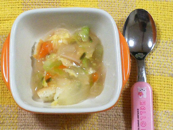 離乳食レシピ「パンの卵スープあんかけ」の完成品