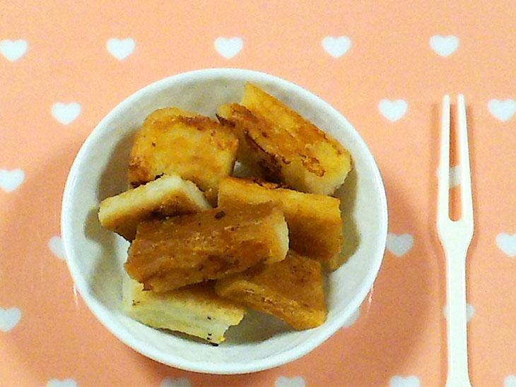 離乳食レシピ「きなこ豆乳ラスク」の完成品