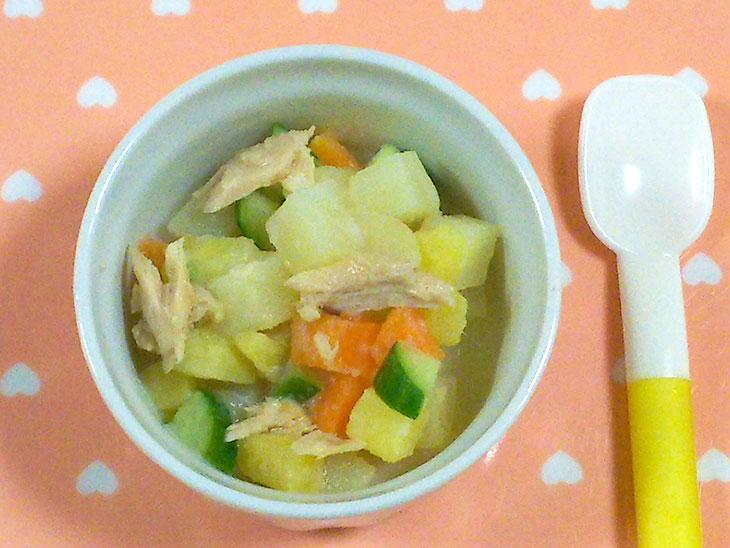 離乳食完了期のツナ缶レシピ「かぶとツナのグラタン」の完成品