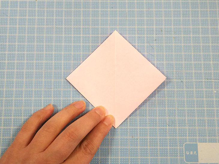 折り紙の開いた平面カーネーションの折り方の工程1-2