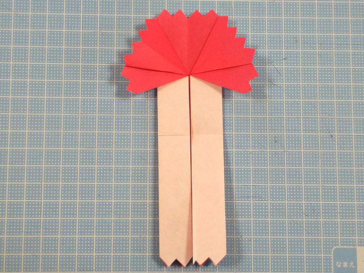折り紙の八重の茎付き平面カーネーションの折り方の工程4-2