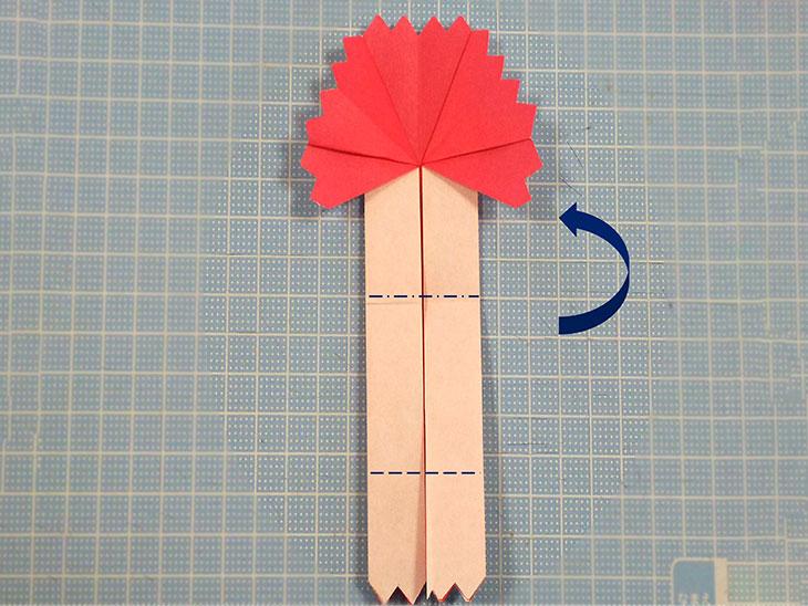 折り紙の八重の茎付き平面カーネーションの折り方の工程5-1