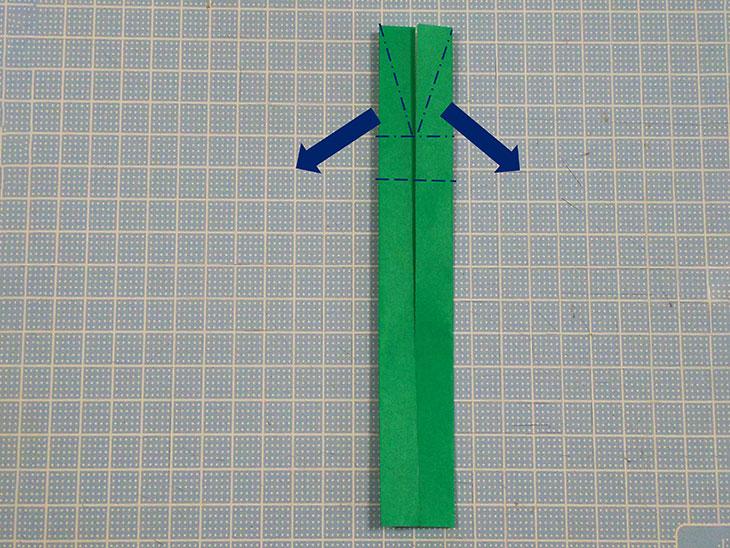 折り紙の八重の茎付き平面カーネーションの折り方の工程7-2