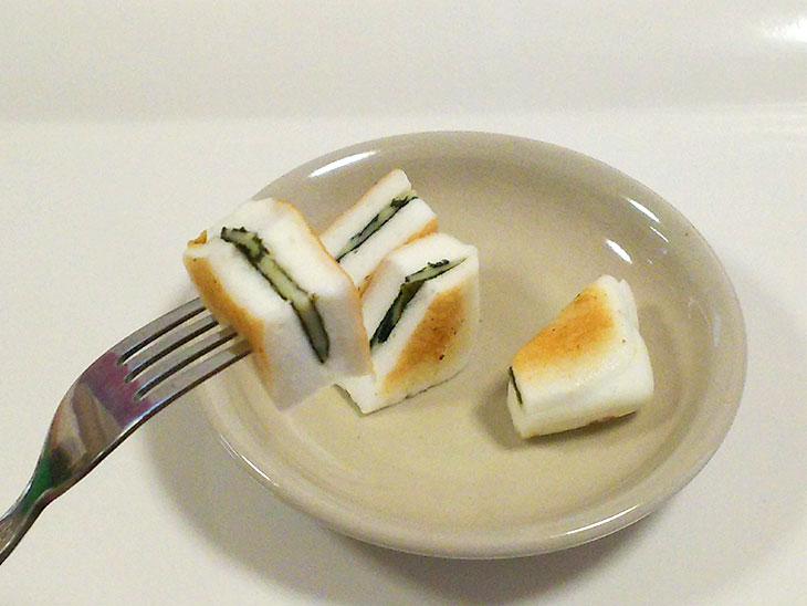 離乳食完了期レシピ「はんぺんのチーズはさみ焼き」の完成品