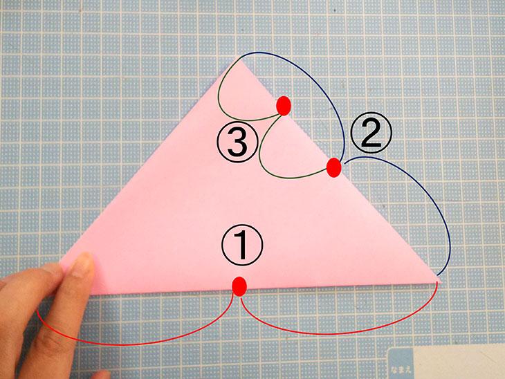 折り紙の桜の花びらの作り方の工程1