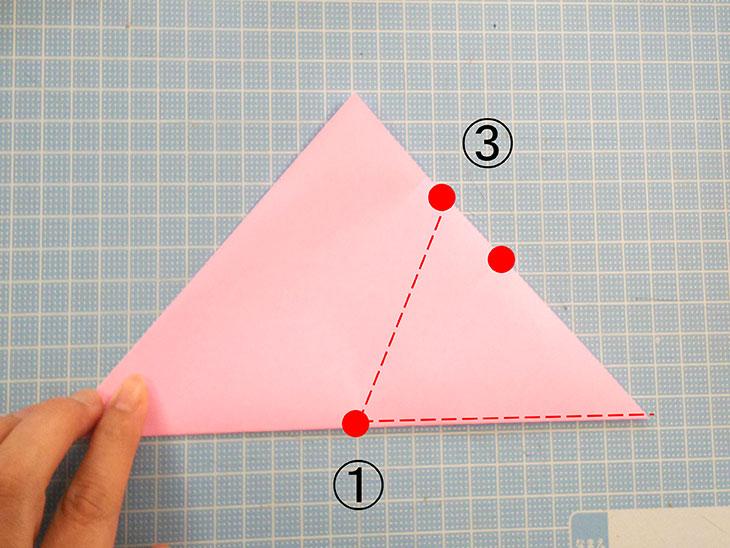 折り紙の桜の花びらの作り方の工程2-1