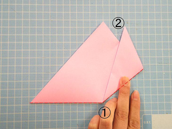 折り紙の桜の花びらの作り方の工程3-1