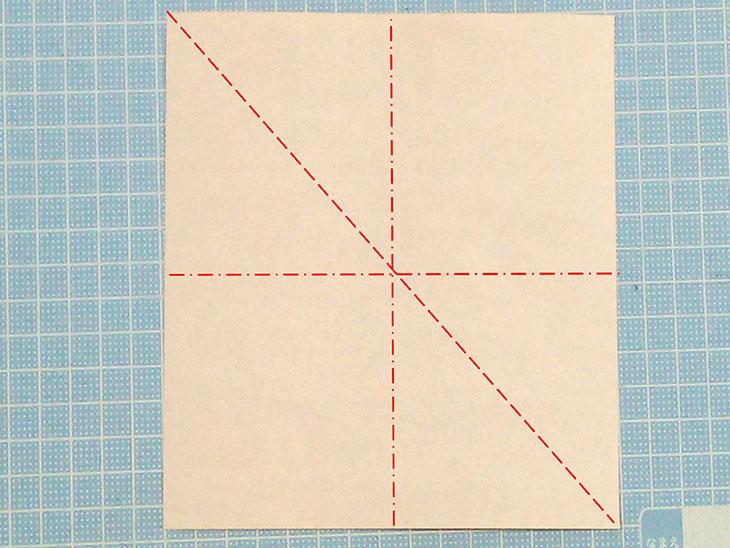 折り紙2枚の全身猫の折り方の手順1
