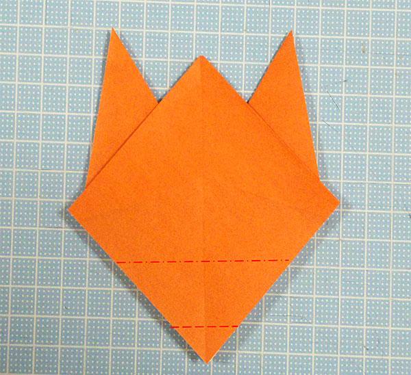 折り紙2枚の全身猫の折り方の手順3