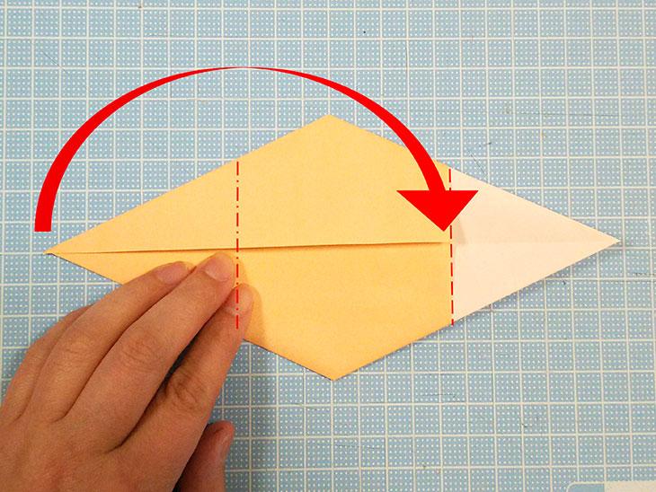 折り紙1枚の全身猫の折り方の手順3