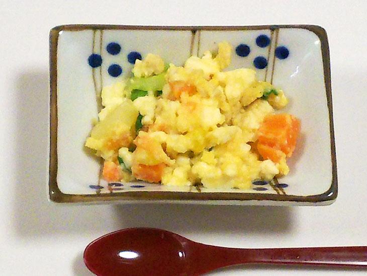離乳食後期レシピ「ふわふわ炒り卵」の完成品
