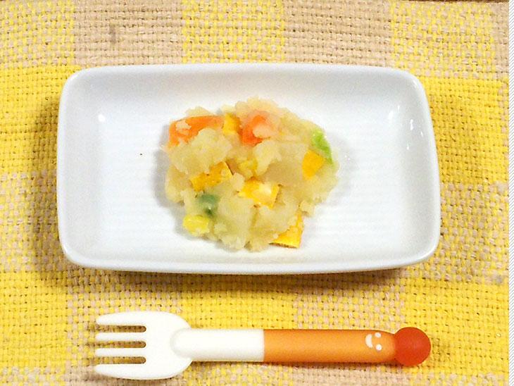 離乳食後期レシピ「薄焼き卵入りポテトサラダ」の完成品