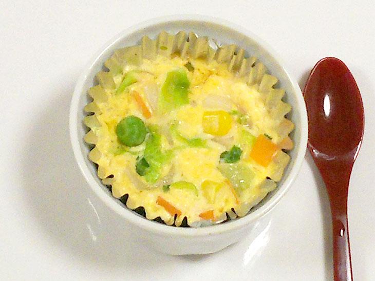 離乳食完了期レシピ「チーズとミックスベジタブルのキッシュ」の完成品