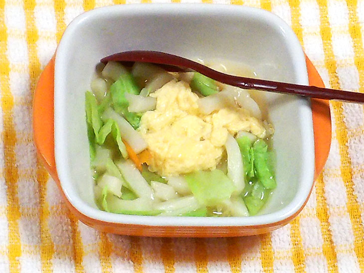 離乳食完了期レシピ「フワフワ卵入りうどん」の完成品