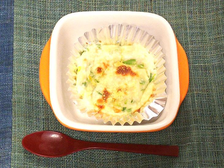 離乳食後期レシピ「豆腐入りアスパラガスグラタン」の完成品