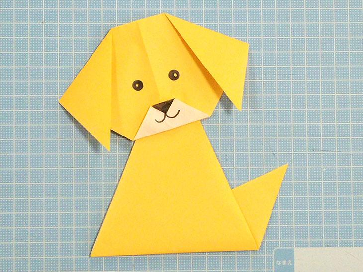 超かんたんな折り方で完成した折り紙の犬