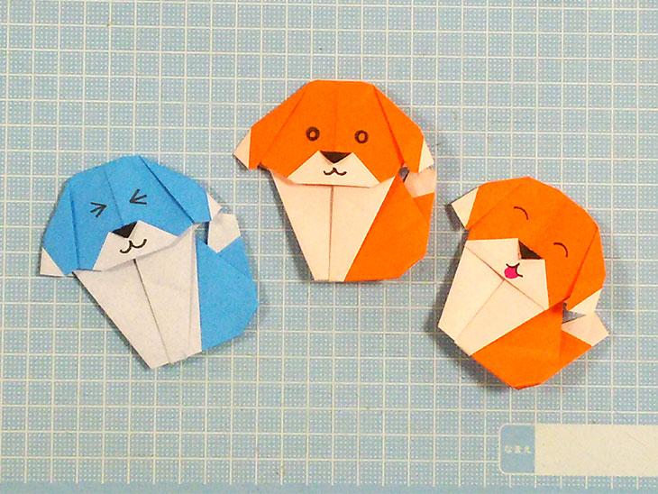 折り紙一枚で作る折り方で完成した3匹のおすまし犬