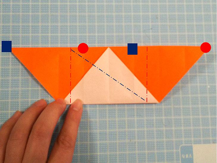 折り紙一枚で作るおすまし犬の折り方の工程3